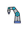 robotic arm for 3d printer flat color line icon