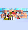 santa claus on forklift truck loading colorful vector image