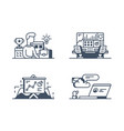 set management icons vector image vector image