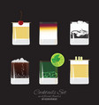 set of 6 cocktails vector image vector image