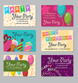 Set of business card your party with gifts vector image vector image