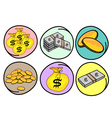 Set of Money and Gold on Round Background vector image vector image
