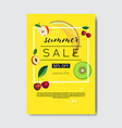 summer sale fresh fruits lettering badge design vector image