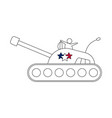 tank line icon with stars vector image vector image