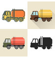 tank truck icon set in flat and line styles vector image