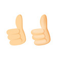 thumbs up icon in flat and cartoon style vector image