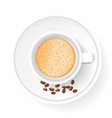 top view of realistic cup on saucer with coffee vector image vector image
