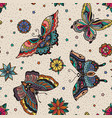 Vintage style traditional tattoo flash butterflies vector image