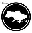 white map of ukraine on black circle vector image