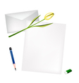 Yellow Tulip on Blank Page and Envelope vector image vector image