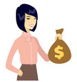 young asian business woman holding a money bag vector image vector image
