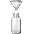 Glass bottle and funnel vector image