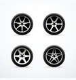 set of car wheel icons vector image