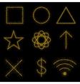 Gold symbols on black background vector image