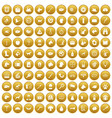 100 dog icons set gold vector image vector image