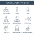 9 manager icons vector image vector image
