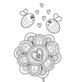 adult doodle coloring book page flower and bees vector image vector image