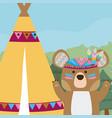 bear cute hippie cartoon vector image vector image