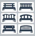 benches icons set vector image vector image
