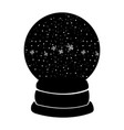 Black icon christmas glass snow ball vector image