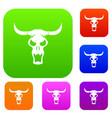 buffalo skull set color collection vector image vector image