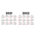 calendar for 2021 and 2022 on white background vector image vector image