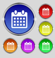 calendar page icon sign Round symbol on bright vector image