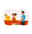 cashier punches goods at checkout vector image