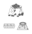 casino and equipment outline icons in set vector image