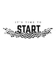 checkered flag with the word start t-shirt design vector image vector image