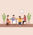 children sitting and eating at table at school vector image vector image