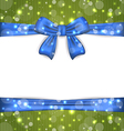 Christmas glowing card with ribbon bows vector image vector image