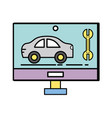 computer with car service and mechanical repair vector image