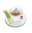 cup of lemongrass tea with triangle tea bag vector image