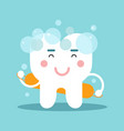 cute cartoon tooth character washing himself vector image vector image
