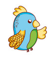 cute tropical bird parrot cartoon isolated icon vector image vector image