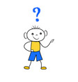 doodle boy thinking with question mark scribble vector image vector image