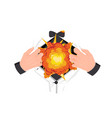 explosion in chest concept powerful heart attack vector image vector image