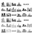 factory and facilities black icons in set vector image