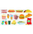 fast food icons set hamburger dinner vector image