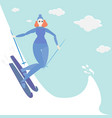 ginger young woman do ski vector image vector image