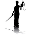 goddess of justice silhouette vector image vector image