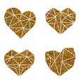 gold glitter heart polygonal symbol on a white vector image vector image