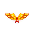 golden wings emblem on a white vector image vector image