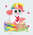 hand drawn a cute funny mouse with horn vector image vector image