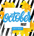 hand drawn oktoberfest lettering label with leaves vector image vector image