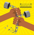 hands broken of chain to celebrate freedom day vector image