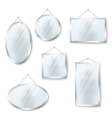 hanging mirrors isolated on white vector image vector image