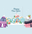 happy new year 2020 celebration seal and bear vector image vector image