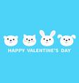 happy valentines day bear cat dog rabbit animal vector image vector image